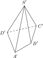 "<math> \begin{tikzpicture}[>=latex, scale=0.9] \coordinate(a) at (-0.2,0); \coordinate(b) at (1,0.7); \coordinate(c) at (1.4,2); \coordinate(d) at (-0.8,1.5); \coordinate(s) at (0.5,3.5); \draw (s) -- (d) -- (a) -- (b) -- (c) -- cycle; \draw (a) -- (s) -- (b); \draw[dashed] (d) -- (c); \node[below] at (a) {\small $A""$}; \node[right] at (b) {\small $B""$}; \node[right] at (c) {\small $C""$}; \node[left] at (d) {\small $D""$}; \node[above] at (s) {\small $S""$}; \end{tikzpicture} </math>"