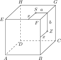 <math> \begin{tikzpicture}[>=latex, scale=0.8] \coordinate(a) at (0,0); \coordinate(b) at (3,0); \coordinate(c) at (4.3,1.2); \coordinate(d) at (1.3,1.2); \coordinate(e) at (0,3); \coordinate(f) at (3,3); \coordinate(g) at (4.3,4.2); \coordinate(h) at (1.3,4.2); \coordinate(z) at (3.6,2); \coordinate(z1) at (3.6,3); \coordinate (zs) at (intersection of z--z1 and f--g); \coordinate(s) at ($(zs)-(1,0)$); \coordinate(z0) at ($(z)-(0.6,0.5)$); \coordinate(s0) at ($(s)-(0.65,0.55)$); \draw[dashed] (c) -- (d) -- (a); \draw[dashed] (d) -- (h); \draw (a) -- (b) -- (c); \draw (a) -- (e) -- (f) -- (g) -- (h) -- (e); \draw (b) -- (f); \draw (c) -- (g); \draw (z0) -- (z) -- (zs) -- (s) -- (s0); \draw [fill=white] (s) circle (0.05); \draw [fill=white] (z) circle (0.05); \node[above] at ($(s)!0.5!(zs)$) {\small $a$}; \node[left] at ($(s)!0.5!(s0)$) {\small $x$}; \node[below] at ($(z)!0.5!(z0)$) {\small $x$}; \node[right] at ($(z)!0.5!(zs)$) {\small $b$}; \node[below] at (a) {\small $A$}; \node[below] at (b) {\small $B$}; \node[right] at (c) {\small $C$}; \node[below] at (d) {\small $D$}; \node[above] at (g) {\small $G$}; \node[above] at (h) {\small $H$}; \node[left] at (e) {\small $E$}; \node[below left] at (f) {\small $F$}; \node[above] at (s) {\small $S$}; \node[right] at (z) {\small $Z$}; \end{tikzpicture} </math>
