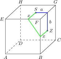 <math> \begin{tikzpicture}[>=latex, scale=0.8] \coordinate(a) at (0,0); \coordinate(b) at (3,0); \coordinate(c) at (4.3,1.2); \coordinate(d) at (1.3,1.2); \coordinate(e) at (0,3); \coordinate(f) at (3,3); \coordinate(g) at (4.3,4.2); \coordinate(h) at (1.3,4.2); \coordinate(z) at (3.6,2); \coordinate(z1) at (3.6,3); \coordinate (zs) at (intersection of z--z1 and f--g); \coordinate(s) at ($(zs)-(1,0)$); \coordinate(z0) at ($(z)-(0.6,0.5)$); \coordinate(s0) at ($(s)-(0.65,0.55)$); \draw[dashed] (c) -- (d) -- (a); \draw[dashed] (d) -- (h); \draw (a) -- (b) -- (c); \draw (a) -- (e) -- (f) -- (g) -- (h) -- (e); \draw (b) -- (f); \draw (c) -- (g); \draw (z0) -- (z) -- (zs) -- (s) -- (s0); \draw [fill=white] (s) circle (0.05); \draw [fill=white] (z) circle (0.05); \node[above] at ($(s)!0.5!(zs)$) {\small $a$}; \node[left] at ($(s)!0.5!(s0)$) {\small $x$}; \node[below] at ($(z)!0.5!(z0)$) {\small $x$}; \node[right] at ($(z)!0.5!(zs)$) {\small $b$}; \node[below] at (a) {\small $A$}; \node[below] at (b) {\small $B$}; \node[right] at (c) {\small $C$}; \node[below] at (d) {\small $D$}; \node[above] at (g) {\small $G$}; \node[above] at (h) {\small $H$}; \node[left] at (e) {\small $E$}; \node[below left] at (f) {\small $F$}; \node[above] at (s) {\small $S$}; \node[right] at (z) {\small $Z$}; \draw[blue, thick](z) -- (zs) -- (s); \draw[green, thick](s) -- (s0) -- (z0) -- (z); \end{tikzpicture} </math>