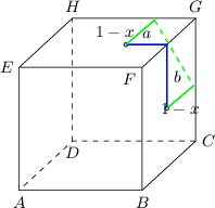 <math> \begin{tikzpicture}[>=latex, scale=0.8] \coordinate(a) at (0,0); \coordinate(b) at (3,0); \coordinate(c) at (4.3,1.2); \coordinate(d) at (1.3,1.2); \coordinate(e) at (0,3); \coordinate(f) at (3,3); \coordinate(g) at (4.3,4.2); \coordinate(h) at (1.3,4.2); \coordinate(z) at (3.6,2); \coordinate(z1) at (3.6,3); \coordinate (zs) at (intersection of z--z1 and f--g); \coordinate(s) at ($(zs)-(1,0)$); \coordinate(z0) at ($(z)+(0.65,0.55)$); \coordinate(s0) at ($(s)+(0.7,0.6)$); \draw[dashed] (c) -- (d) -- (a); \draw[dashed] (d) -- (h); \draw (a) -- (b) -- (c); \draw (a) -- (e) -- (f) -- (g) -- (h) -- (e); \draw (b) -- (f); \draw (c) -- (g); \draw (z0) -- (z) -- (zs) -- (s) -- (s0); \draw [fill=white] (s) circle (0.05); \draw [fill=white] (z) circle (0.05); \node[above] at ($(s)!0.5!(zs)$) {\small $a$}; \node[left] at ($(s)!0.5!(s0)$) {\small $1-x$}; \node[below] at ($(z)!0.5!(z0)$) {\small $1-x$}; \node[right] at ($(z)!0.5!(zs)$) {\small $b$}; \node[below] at (a) {\small $A$}; \node[below] at (b) {\small $B$}; \node[right] at (c) {\small $C$}; \node[below] at (d) {\small $D$}; \node[above] at (g) {\small $G$}; \node[above] at (h) {\small $H$}; \node[left] at (e) {\small $E$}; \node[below left] at (f) {\small $F$}; %\node[above] at (s) {\small $S$}; %\node[right] at (z) {\small $Z$}; \draw[blue, thick](z) -- (zs) -- (s); \draw[green, thick](s) -- (s0)(z0) -- (z); \draw[green, thick, dashed](s0) -- (z0); \end{tikzpicture} </math>